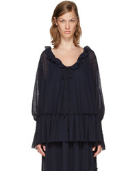 See by Chloe See By Chlo Navy Gauze Jersey Blouse