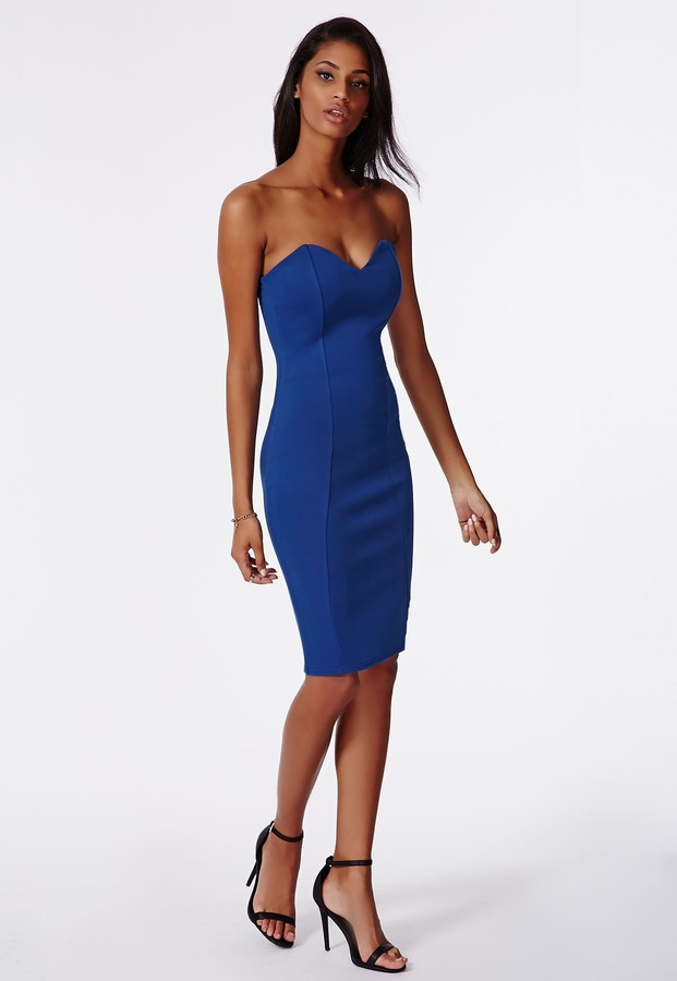 Missguided Matilde Bandeau Bodycon Midi Dress In Cobalt Blue