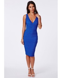 ... Missguided Mulan Cobalt Blue Bandage Bodycon Midi Dress ... d41ff5912521