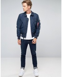 Alpha Industries Cwu Bomber Jacket In Slim Fit Navy | Where to buy ...