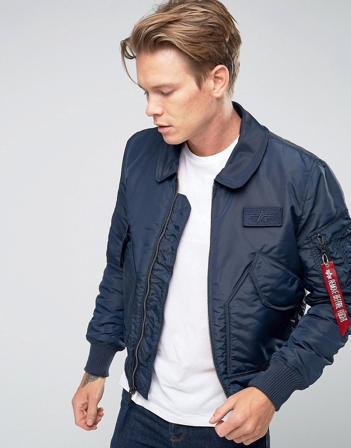 new arrival 727f2 7d51c $217, Alpha Industries Cwu Bomber Jacket In Slim Fit Navy