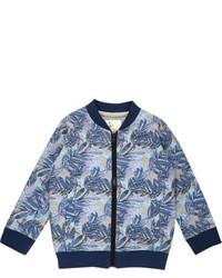 River Island Mini Boys Blue Floral Print Bomber Jacket