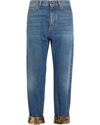 Saint Laurent Cropped Sequin Embellished High Rise Boyfriend Jeans Mid Denim