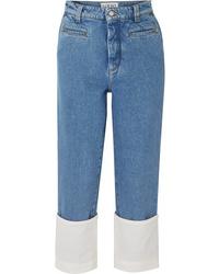 Loewe Fisherman Cotton Poplin Paneled Cropped Boyfriend Jeans