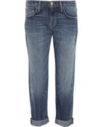 Current/Elliott The Boyfriend Cropped Mid Rise Jeans Mid Denim