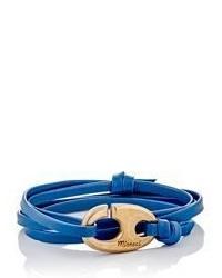 Miansai Brummel Hook On Leather Wrap Bracelet Blue