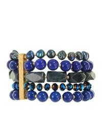 FINE JEWELRY Rox By Alexa Dyed Blue Lapis Stretch 5 Strand Bracelet