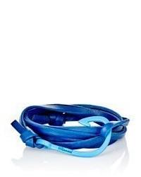 Miansai Hook On Leather Bracelet Blue