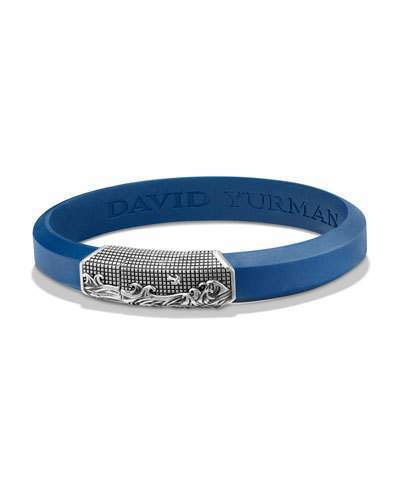 400 David Yurman Waves Rubber Id Bracelet Blue