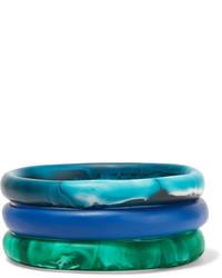 Dinosaur Designs Wishbone Set Of Three Resin Bracelets Blue