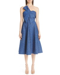 Lela Rose Pebble Brocade Fit Flare Dress