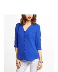 Express V Neck Convertible Sleeve Blouse Blue Medium