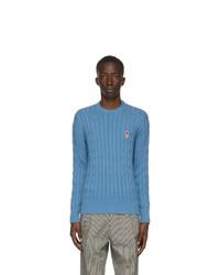 AMI Alexandre Mattiussi Blue Cable Ami De Coeur Sweater