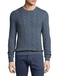 Ralph Lauren Cashmere Cable Knit Crewneck Sweater Supply Blue