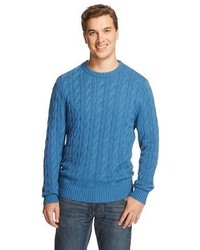 Merona Crew Neck Cable Knit Sweater Hoya Blue Tm