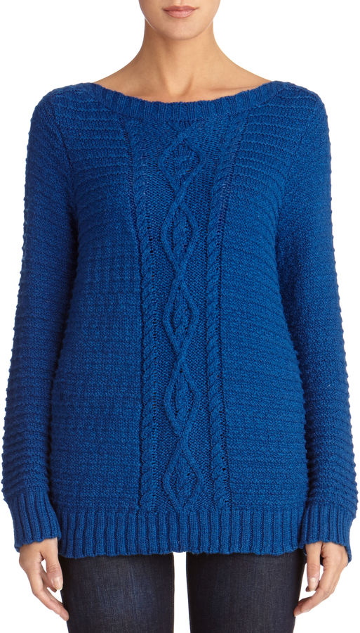 Jones New York Cable Knit Sweater With Boat Neck