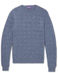 Ralph Lauren Purple Label Mlange Cable Knit Cashmere Sweater