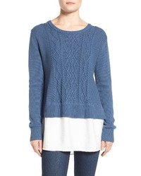 Two by vince camuto layer look cable knit sweater medium 1063594