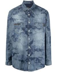 Philipp Plein Camouflage Print Denim Shirt