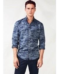 Blue Camouflage Long Sleeve Shirt