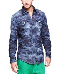DSQUARED2 Laser Print Camo Denim Shirt Blue