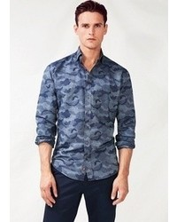 Mango Slim Fit Camo Print Chambray Shirt