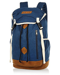 River Island Blue Canvas Backpack