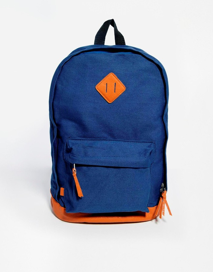 30e2eddd985f93 Asos Brand Backpack In Blue, $33 | Asos | Lookastic.com