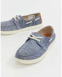 Toms Culver Chambray Boat Shoes In Blue
