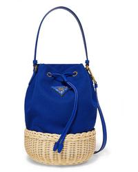 Prada Giardiniera Med Canvas And Wicker Shoulder Bag