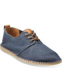Clarks Pikko Solo Blue Waxed Canvas Lace Up Shoes