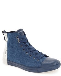 Blue Canvas High Top Sneakers