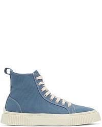 AMI Alexandre Mattiussi Blue Canvas High Top Sneakers