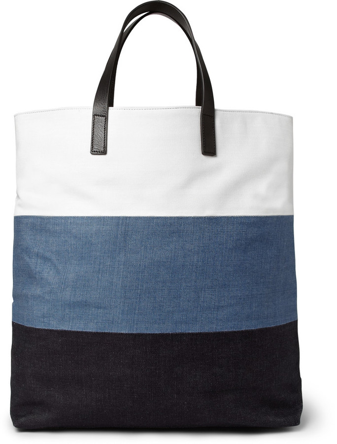 Wooyoungmi Leather Trimmed Panelled Cotton Canvas Tote Bag | Where ...