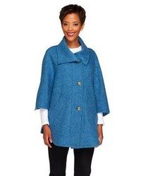Donegal Designs Boyne Valley Weavers Button Front Cape With Pockets