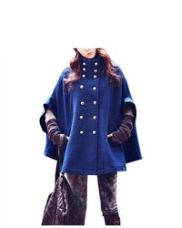 Unique-Bargains Double Breasted Royal Blue Pocket Cape Coat For Ladym