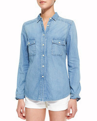 Cusp by double pocket chambray shirt light marble medium 60658