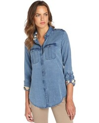Burberry Brit Blue Cotton Chambray Button Up Tab Sleeve Shirt