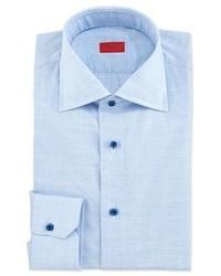 Isaia Glen Plaid Chambray Dress Shirt Sky Blue