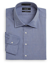 Saks Fifth Avenue Slim Fit Chambray Cotton Dress Shirt