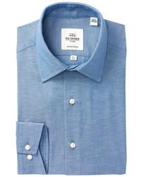 Ben Sherman Slub Chambray Florentine Tailored Slim Fit Dress Shirt