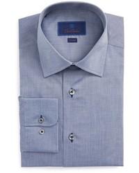 David Donahue Trim Fit Chambray Dress Shirt