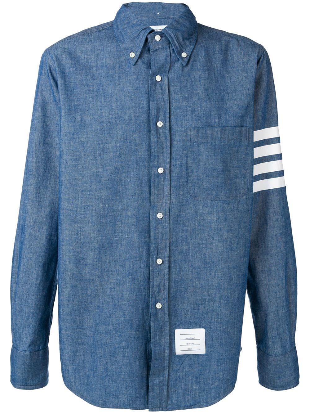 Thom Browne 4 Bar Straight Fit Chambray Shirt