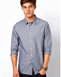 Asos Chambray Shirt With Neps