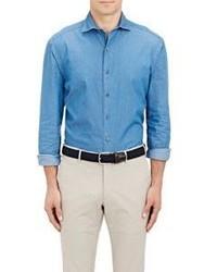 Barneys New York Chambray Dress Shirt Blue Size S