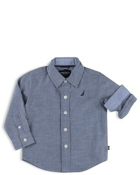 Nautica Boys Long Sleeve Chambray Shirt Sizes S Xl