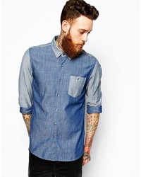 Asos Brand Chambray Shirt In Long Sleeve With Contrast Panels