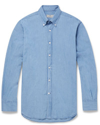 Canali Button Down Collar Cotton Chambray Shirt