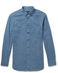 Brioni Button Down Collar Cotton Chambray Shirt