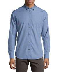 Vince Chambray End On End Woven Shirt Blue